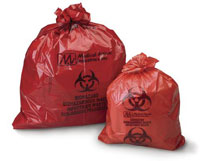 Biohazard Red Waste Bag, to Collect, Store and Transport Biohazard/Infectious Waste, 1.2 mil