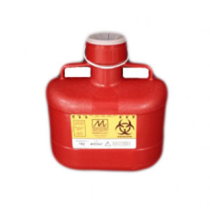 6.2 Quart Sharps Disposal Container, Red, veritcal Drop, locking cap