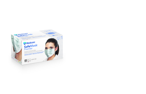Safe-Mask Premier - WHITE Ear-Loop Face Mask with BFE > 95% at 3 microns, Fluid Resistant, Box of 50 Masks.