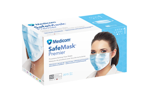 Safe-Mask Premier - BLUE Ear-Loop Face Mask with BFE > 95% at 3 microns, Fluid Resistant, Box of 50 Masks.