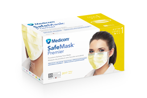 Safe-Mask Premier - YELLOW Ear-Loop Face Mask with BFE > 95% at 3 microns, Fluid Resistant, Box of 50 Masks.