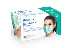 Safe-Mask Premier - TEAL Ear-Loop Face Mask with BFE > 95% at 3 microns, Fluid Resistant, Box of 50 Masks.