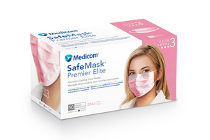 Safe-Mask Premier Elite - Pink Earloop Mask, 50/bx