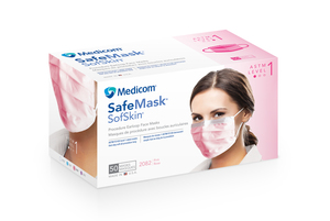 Medicom Sof Skin Pink Earloop Mask, 50/bx