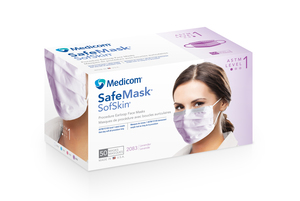 Earloop Mask LAVENDER 50/Pk Fluid Resistant. Extra soft and dye-free. Adjustable nose piece. PFE >=95% at 0.1 micron, BFE >=95%. Level I protection fo