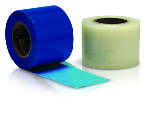 4 x 6 Blue Barrier Film, 1200 sheets per roll. Easy to apply and remove from surfaces with adhesive coating. Reduce cross contamination with single
