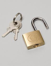 Brass Padlock for Palmero item #109L Locking Canister Holder, Perfect for placement in public areas where vandalism or theft is a possibility. Lock on