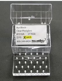 27-Hole Latch-Type Bur Block With Box, Clear Plexiglass, Comes in a clear, plastic box for easy storage. Non-autoclavable