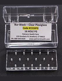 16-Hole Latch-Type Clear Plexiglass Bur Block With Box, Comes in a clear, plastic box for easy storage. Non-autoclavable, 2.8125 x 1.25 x .5