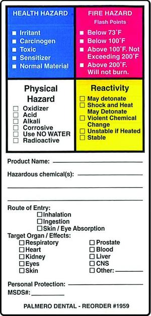 Hazardous Material Labels, 2.25 x 4, OSHA Compliance Lable systems for all healthcare facility needs. Easily identify all hazardous substances, was