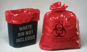 10 gallon Infectious Waste Bags with Biohazard Waste Symbol, Box of 100 bags.