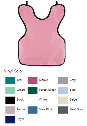 Petite/Child x-ray apron without collar, Green Vinyl with black binding, 0.3 mm lead-lined, textured vinyl backing