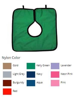 Adult Cling Shield Pano-Cape Apron, Kelly Green nylon, 23 1/2 x 7 1/2, Lays over the shoulders