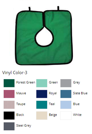 Adult Cling Shield Pano-Cape Apron, Teal Vinyl with black binding, 23 1/2 x 7 1/2, Lays over the shoulders