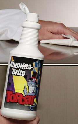 TopCat Alumina-Brite Metal Cleaner. Liquid cream cleanser quickly and easily removes embedded stains, rust, grease, soap scum