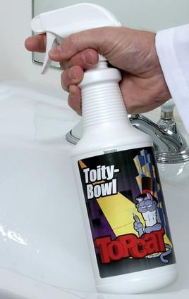 TopCat Toity-Bowl & Tile Cleaner, ready-to-use, high-foaming clinging spray that cleans and deodorizes in one step. Perfect for use on toilets, urinal