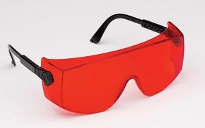 OverBOND Eyewear - Black Frame/Reddish-Orange Bonding Lens. Attractive over-the-glass style. Fits over most prescription eyewear. High-impact polycarb