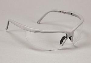 Sphere-X Wrap Eyewear - Platinum Frame / Clear Lens. Temples arms adjust to 4 Lengths, Dual-lens, Fog-Free, Scratch Resistant. Single pair of Glasse