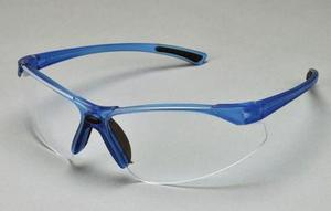 Tech Specs Eyewear - Blue Frame/Clear Lens. Exceptional styling in a lightweight design that provides excellent protection and comfort. Hugs the face