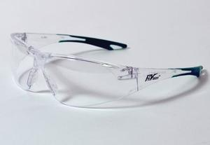 Chic Eyewear - Clear Lens & frame with Green Tips. Designed to fit smaller, more narrow facial structure. Mono-lens construction with wraparound lens.