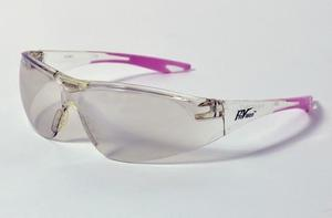 Chic Eyewear - Clear Lens & frame with Pink Tips. Designed to fit smaller, more narrow facial structure. Mono-lens construction with wraparound lens.