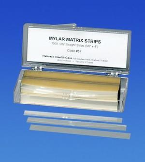 .002 Mylar matrix Strip Straight .375 x 4, thickness 5.8 microns 1000/Pk. Can be used for composite restorations. Far stronger than acetate.