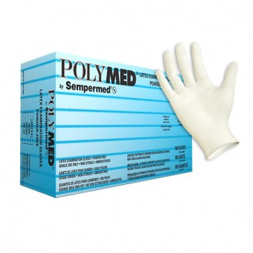166-PM102 Polymed Latex PF Exam Gloves, Small, 100/bx