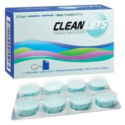 Cleanlets Ultrasonic Cleaning Tablets 32/Bx. General Purpose, 1 tablet makes 1 gallon.