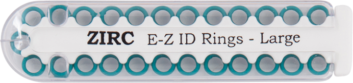 "E-Z ID Instrument Rings Large 1/4"" - Teal. Package of 25 Rings."