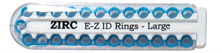 "E-Z ID Instrument Rings Large 1/4"" - Neon Blue. Package of 25 Rings."