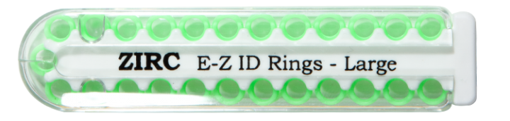 "E-Z ID Instrument Rings Large 1/4"" - Neon Green. Package of 25 Rings."