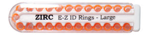 "E-Z ID Instrument Rings Large 1/4"" - Neon Orange. Package of 25 Rings."