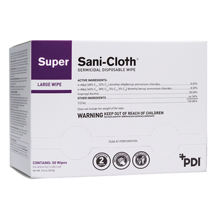 Super Sani-Cloth Germicidal Wipes, Large, Wrapped, 50/bx