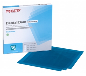 5 x 5 Medium, Blue Unflavored Latex Dental Dam. Box of 52 sheets.