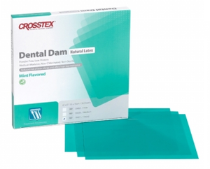 5 x 5 Thin, Green, Mint Flavored Latex Dental Dam. Box of 52 sheets.