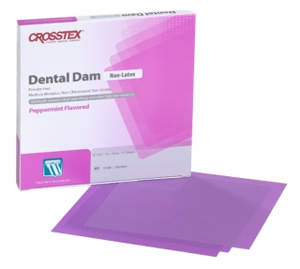6 x 6 Medium, Purple, Peppermint Flavored, Non-Latex Dental Dam. Box of 15 sheets.