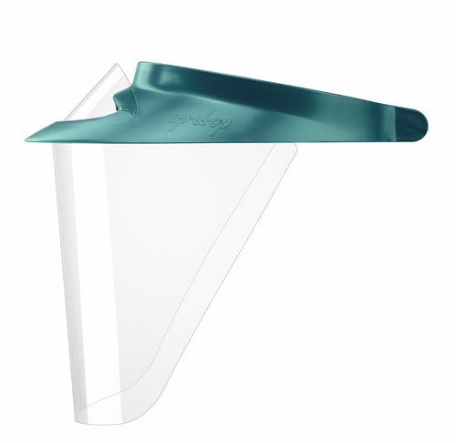 84-308DK-TL (1 IN STOCK) Op-d-Op ABS Shield Kit - Teal. 1 Medium Visor, 3 Surgical Size Shields, 1 Mini-Shield and Light-Cure