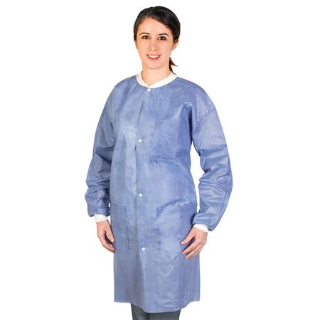 59-D013-18-03 Medflex Lab Coats - Blue Medium, 10pk