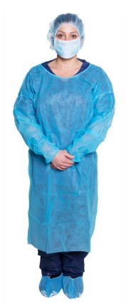 209-301BL Dukal Isolation Gowns Blue, 10/pk