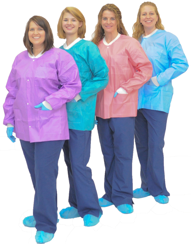 59-D035-18-02 (2 IN STOCK) Procedure Jacket - Small, Teal 10/Pk. Fluid-repellent, disposable, reusable when autoclaved.