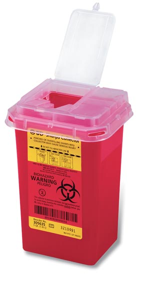 Sharps Container, 1.0 Qt, Phlebotomy, Red, 60/cs