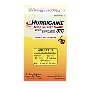 HurriCaine Snap -N- Go Swabs
